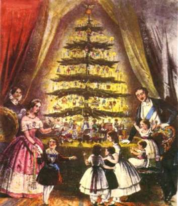The British tradition of stealing German traditions all began with Prince Albert, Victoria's German husband. This picture of the royal family gathered around their Christmas tree was printed in the Illustrated London News in 1848.