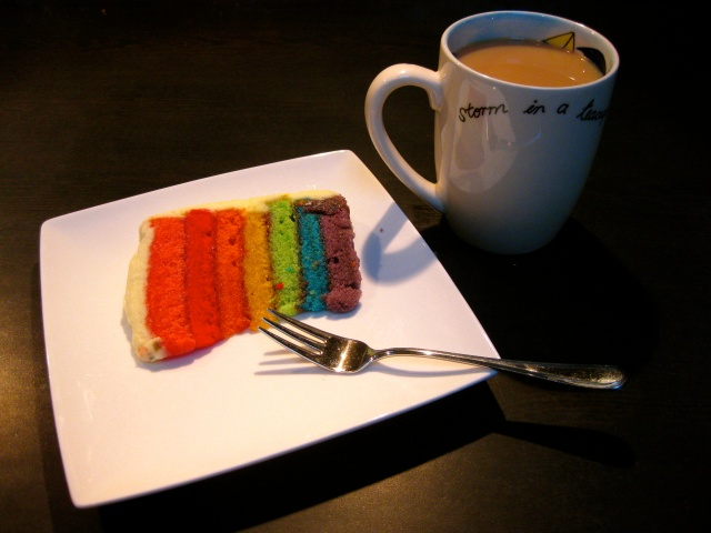 I enjoyed a slice of Beth's rainbow cake with a cup of tea when I got home